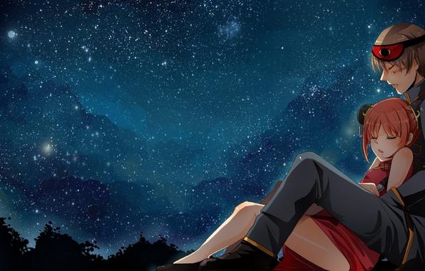 Картинка небо, девушка, звезды, ночь, аниме, арт, парень, gintama, kagura, okita sougo, nusine