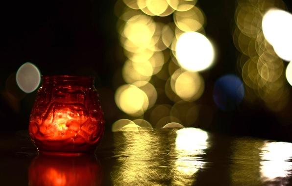 Картинка свет, красный, стол, фон, огонь, widescreen, обои, настроения, свеча, размытие, банка, wallpaper, свечка, широкоформатные, background, ...