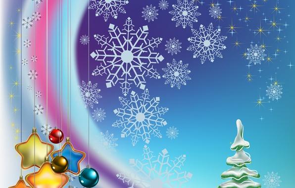 Картинка звезды, шарики, украшения, снежинки, шары, игрушки, графика, елка, звёзды, Рождество, Новый год, ёлка