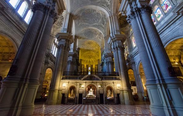 Картинка колонны, Испания, религия, Малага, кафедральный собор, неф