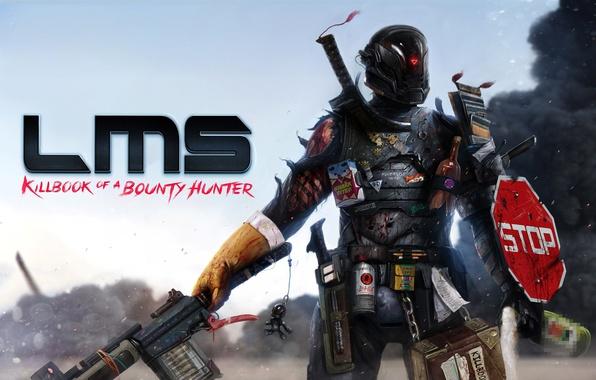 Картинка оружие, кровь, дым, искры, Воин, броня, раны, Last Man Standing: Killbook of a Bounty Hunter