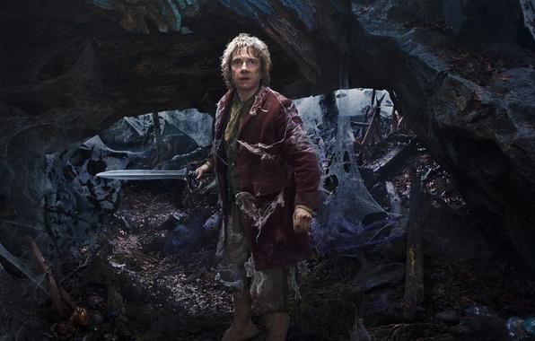 Фото обои Bilbo, Martin Freeman, The Hobbit: An Unexpected Journey, Хоббит: Нежданное путешествие, Мартин Фриман, фэнтези, меч, ...