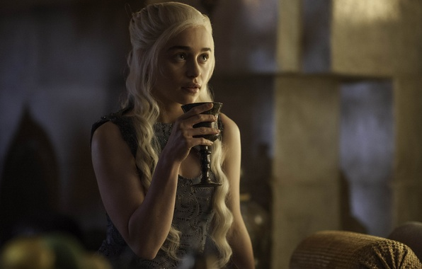 Картинка Актриса, Сериал, скриншот, кубок, Game of Thrones, Игра престолов, Emilia Clarke, Эмилия Кларк, Targarye, Danereys
