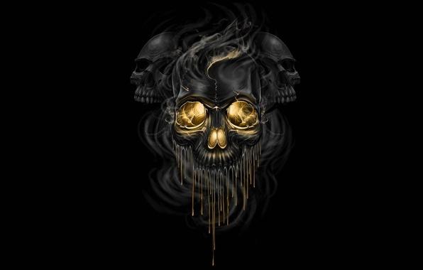 Картинка фантастика, дым, арт, черепа, черный фон, скелеты