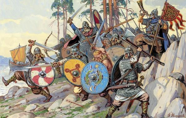 Картинка вода, река, камни, берег, рисунок, корабль, арт, мечи, щиты, копья, викинги, А.Аверьянов.
