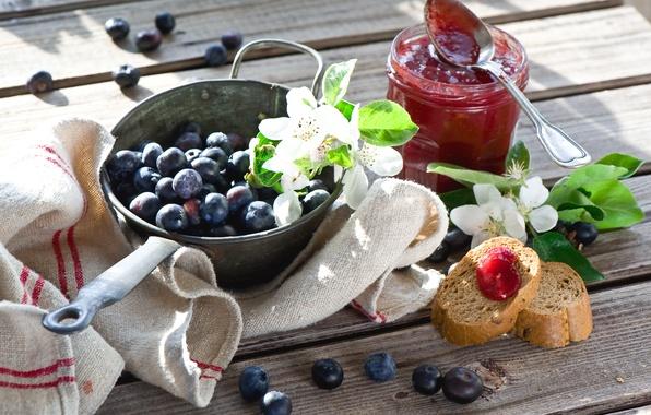 Картинка цветы, веточки, Breakfast with berries and jam, Завтрак с ягодами и Джем