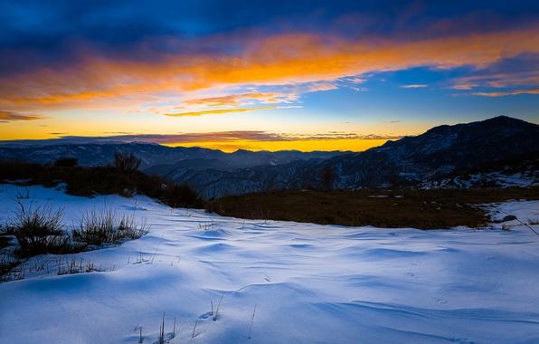 Картинка зима, снег, закат, горы, вечер
