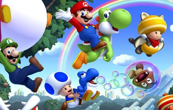 Картинка листья, деревья, грибы, радуга, Марио, Mario, Nintendo, Wii U, Луиджи, Luigi, бульбашки, Super Mario Bros. …