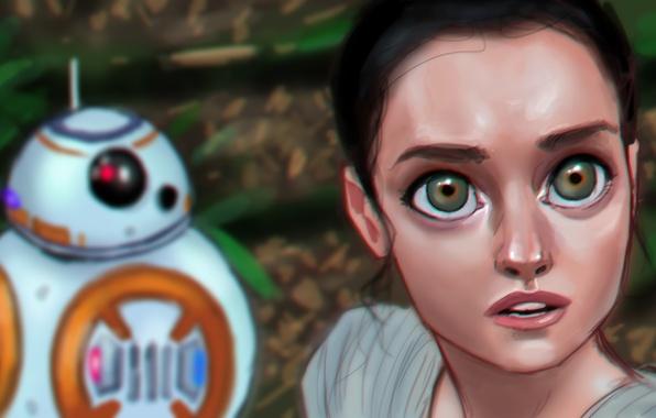 Картинка глаза, взгляд, девушка, робот, Star Wars, art, Episode VII, Звёздные войны: Пробуждение силы, Star Wars: …