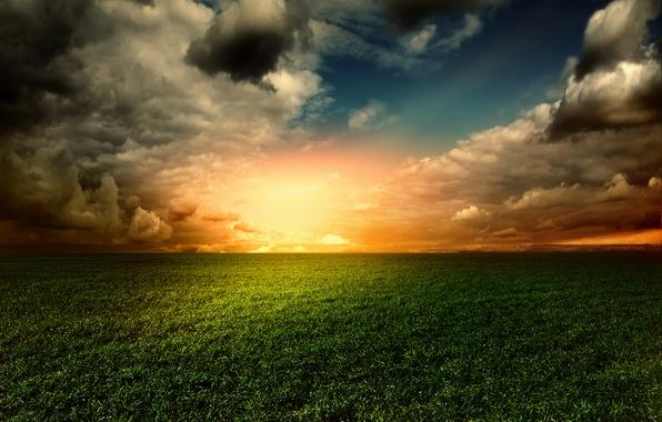 Картинка поле, небо, трава, закат, sky, landscape, nature, sunset