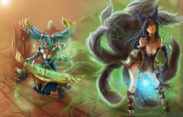 Картинка девушки, магия, арт, lol, League of Legends, SONA, AHRI