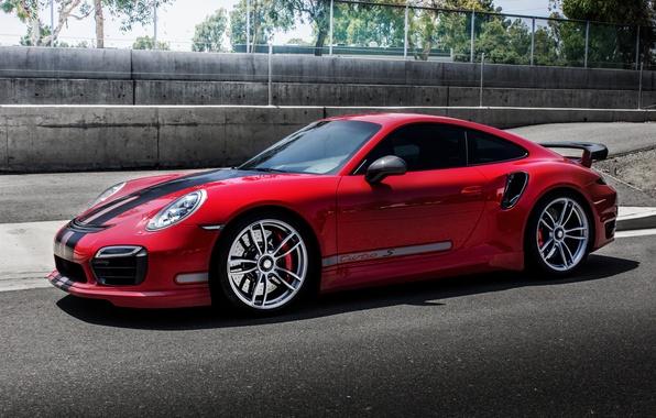 Картинка красный, купе, 911, Porsche, порше, Coupe, Turbo, турбо, TechArt