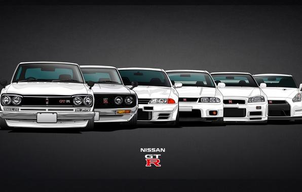 Картинка Машина, Ниссан, GTR, Nissan, GT-R, Car, Evolution, 2000, R32, Coupe, Skyline, Эволюция, R35, R34, Скайлайн, …