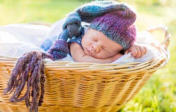 Картинка корзина, сон, шапочка, младенец, спящий
