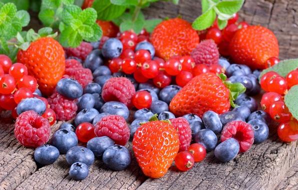 Картинка ягоды, малина, клубника, россыпь, голубика, красная смородина