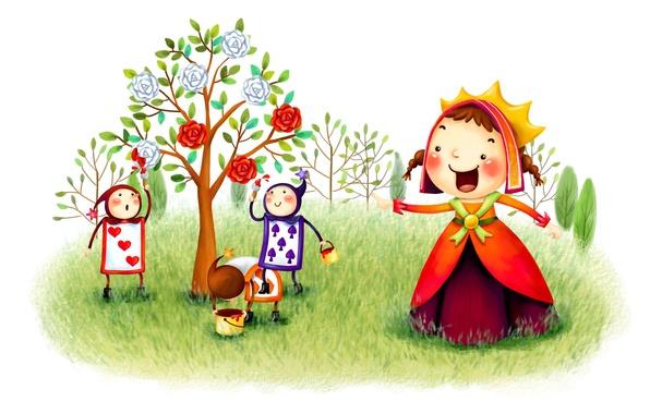 Картинка карты, фантазия, дерево, рисунок, розы, сказка, сад, покраска, королева, слуги