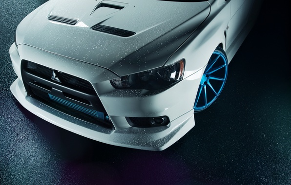 Картинка белый, перед, Mitsubishi, Lancer, white, Evolution, бампер, front, лансер, митсубиси, эволюшн, капельки воды, Vossen Wheels