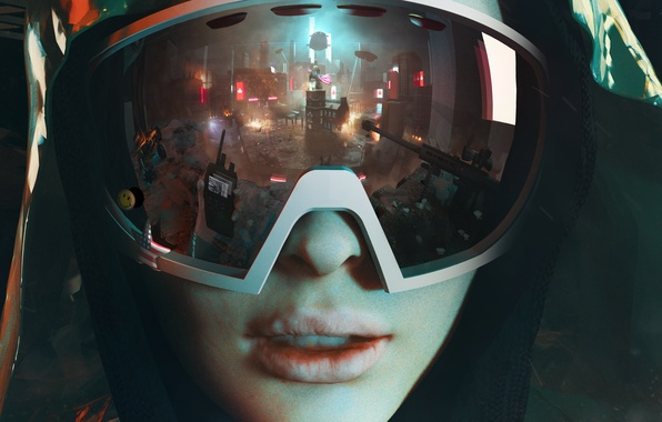Картинка девушка, город, отражение, очки, автомат, капюшон, революция, Homefront: The Revolution