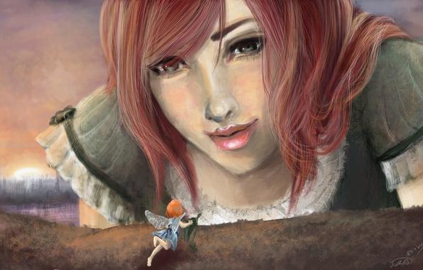 Картинка взгляд, девушка, лицо, волосы, крылья, фея, арт, живопись