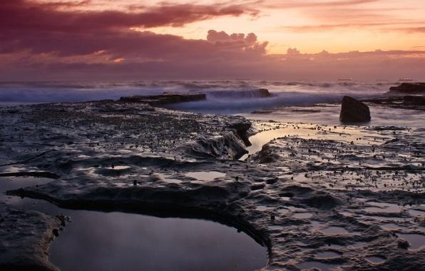 Картинка волны, вода, облака, вечер, Камни