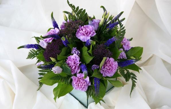 Картинка цветы, розы, букет, композиция, эустома, гвоздики