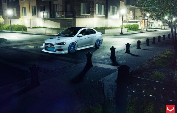 Картинка улица, Авто, Машина, фонари, Mitsubishi, Lancer, Auto, Vossen, Wheels