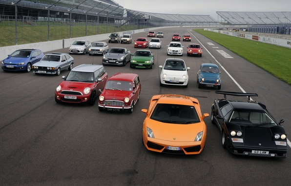 Картинка фон, Mercedes-Benz, Ford, Lamborghini, Volvo, Volkswagen, Opel, Nissan, гоночный трек, Fiat, MINI, Seat
