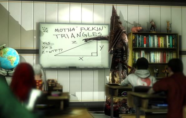 Картинка ситуация, класс, доска, школа, глобус, урок, треугольник, парты, учитель, Silent Hill, ученики, пирамидоголовый, Pyramid Head