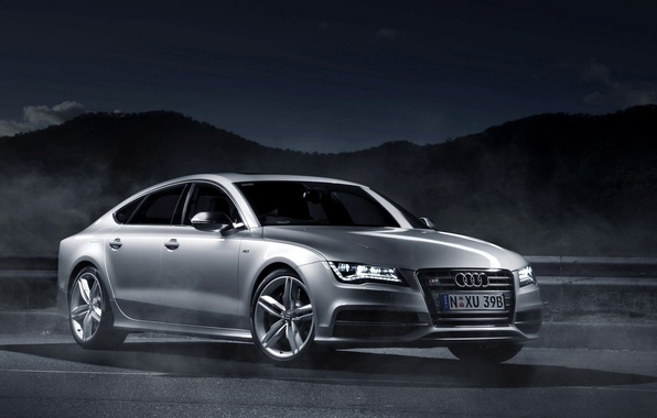 Картинка Ночь, Ауди, Light, Car, 2012, Автомобиль, Wallpapers, Sportback, Audi A7, Спортбэк, AU-Spec