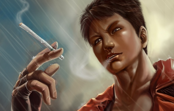 Картинка дождь, сигарета, парень, devil may cry, dante, DmC: Devil May Cry, Nephilim