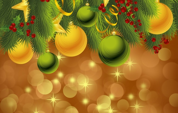 Картинка шарики, праздник, шары, игрушки, новый год, ель, вектор, декорации, happy new year, christmas decoration, новогодние …