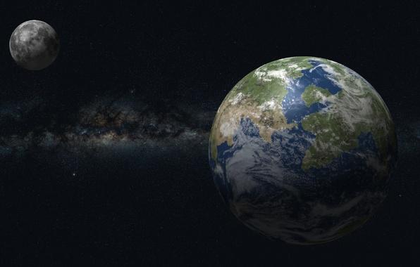 Картинка звезды, вселенная, Луна, Земля