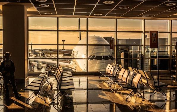 Картинка закат, восход, Аэропорт, planes, airport, A380, Самолёт, Lufthansa, Airbus, Аэробус, Люфтганза, 800, terminal, Зал, Ожидания