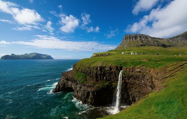 Картинка небо, облака, горы, скалы, водопад, деревушка, на краю, Атлантический океан, Фарерские острова, Королевство Дании, Gaasedal, …