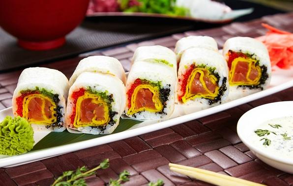 Картинка соус, суши, роллы, васаби, начинка