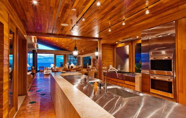Картинка дизайн, лампы, комната, интерьер, техника, свечи, кресла, кухня, гостиная, interior, умывальники, море., kitchen, desigen