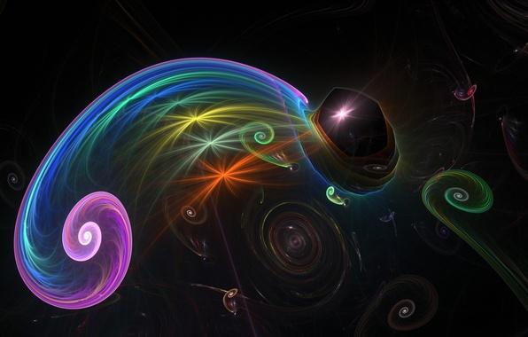 Картинка линии, хамелеон, спирали, фон, цветные