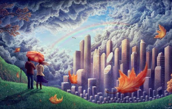 Картинка девушка, облака, птицы, город, ветер, листва, радуга, холм, арт, пара, парень