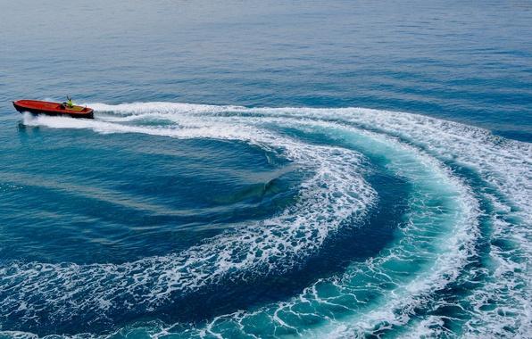 Картинка море, след, катер, Лионский залив, Gulf of Lion