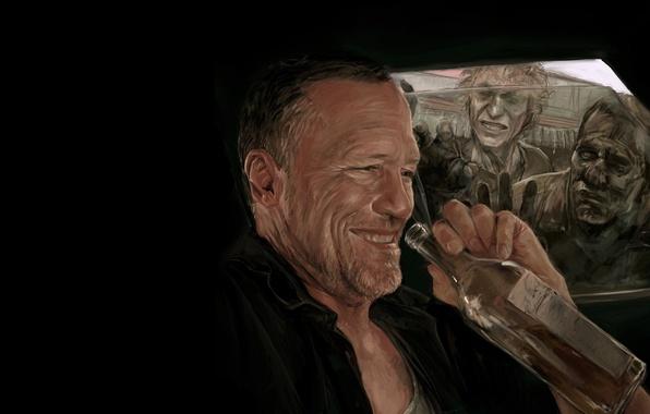 Картинка арт, зомби, zombie, сериал, art, serial, The Walking Dead, Ходячие мертвецы, Мерл Диксон, Merle Dixon, …