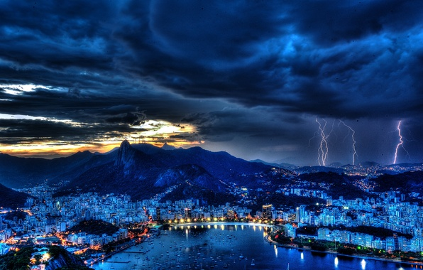 Картинка гроза, небо, ночь, тучи, огни, молния, залив, гавань, Brazil, Rio de Janeiro