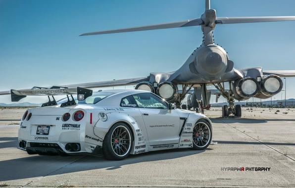 Картинка тюнинг, Lancer, Nissan, GT-R, бомбардировщик, and, B-1B, Liberty Walk