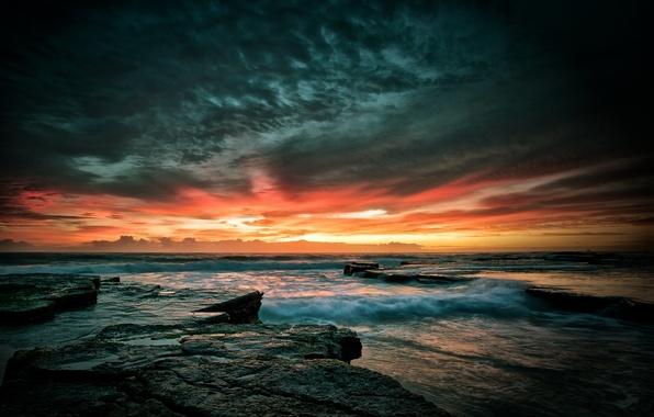 Картинка море, волны, небо, закат, камни, скалы