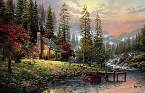 Картинка лес, собаки, туман, дом, река, камни, лодка, рисунок, картина, ели, белка, арт, стул, рисунки, картины, …