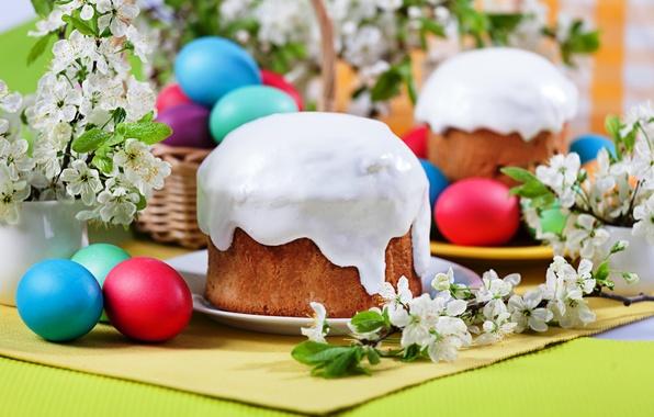 Картинка цветы, яйца, весна, Пасха, кулич, глазурь, Easter, eggs