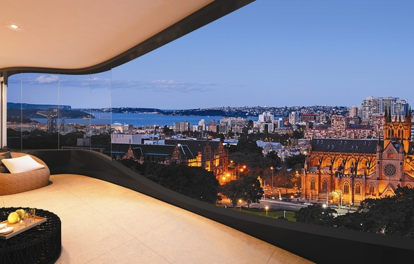 Картинка дизайн, город, дом, стиль, интерьер, балкон, терраса, жилое пространство