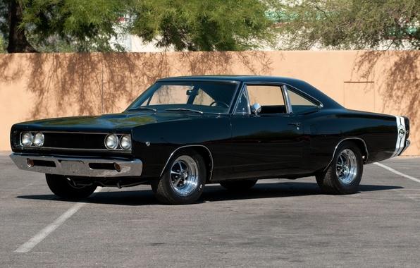 Картинка фон, стена, чёрный, Додж, Dodge, классика, Charger, передок, 1968, Muscle car, Мускул кар, Super Bee, …