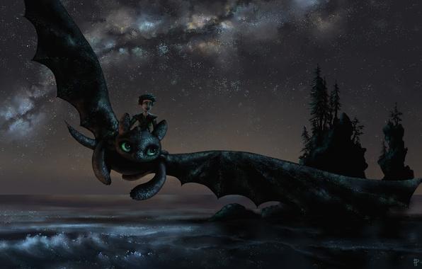 Картинка море, деревья, полет, радость, ночь, настроение, дракон, парень, art, как приручить дракона, беззубик, How to …