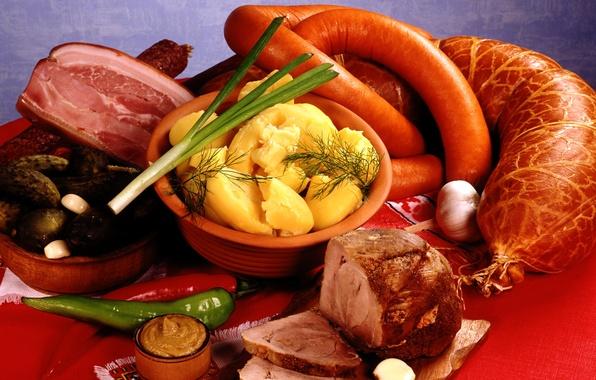 Картинка лук, мясо, перец, овощи, колбаса, чеснок, картофель, горчица, буженина