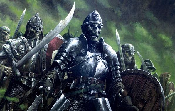 Картинка fantasy, undead, armor, art, background, army, artwork, warriors, skeletons